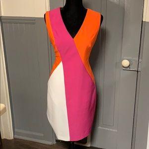 Anne Klein Colorblock Sleeveless V-Neck Dress